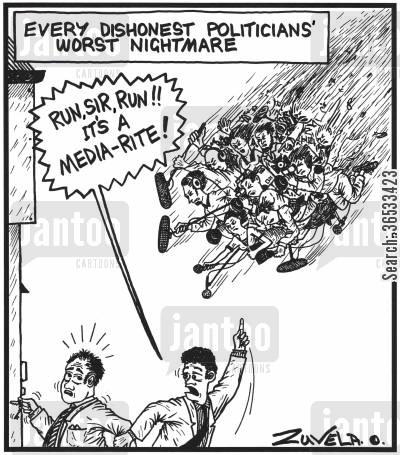 election campaigns cartoon humor: Every dishonest Politicians' worst nightmare Advisor: 'RUN, SIR, RUN!! IT'S A MEDIA-RITE!'