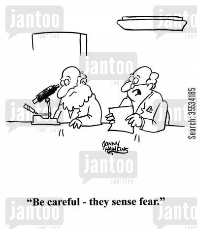 microorganisms cartoon humor: Scientist to scientist looking in microscope: 'Be careful - they sense fear.'