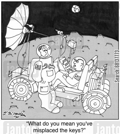 moon buggies cartoon humor: 'What do you mean you've misplace the keys?'