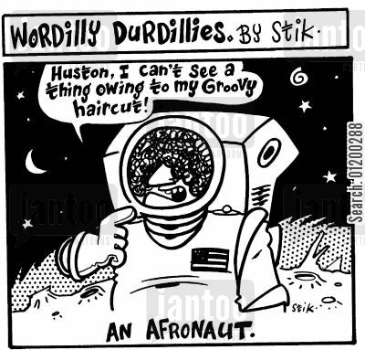 space travelling cartoon humor: An Afronaut