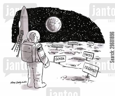 lunar landings cartoon humor: Moon Cheese