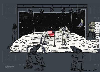 exploring space cartoon humor: The lunar landing of Appollo 11 is shown as a hoax filmed in a studio.