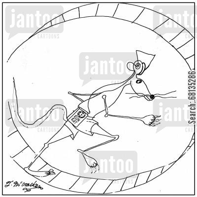 personal stereo cartoon humor:  In a cage wheel a rat runs while wearing a Running Rat Radio.