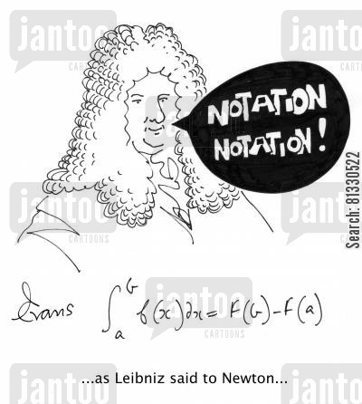 calculus cartoon humor: ...as Leibniz said to Newton,