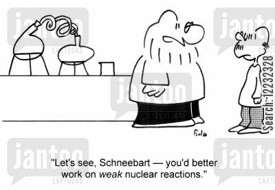 nuclear reactors cartoon humor: 'Let's see, Schneebart — you'd better work on weak nuclear reactions.'