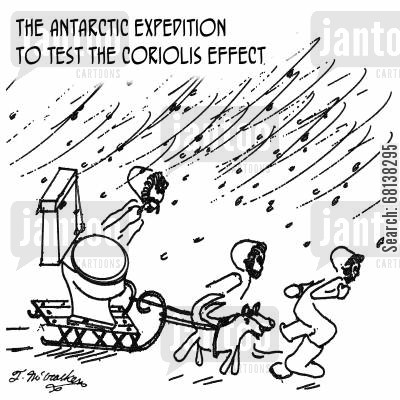 expeditions cartoon humor: The Antarctic expedition to test the Coriolis Effect.