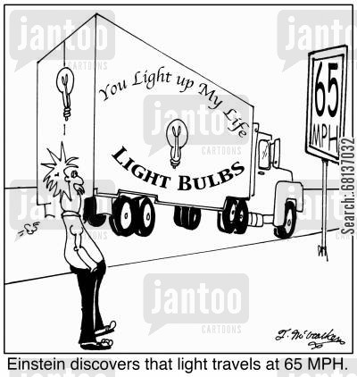 speed of light cartoon humor: Einstein discovers that light travels at 65 MPH.