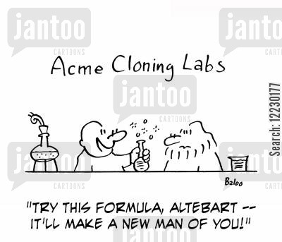 genentic engineer cartoon humor: 'Try this formula, Altebart — it'll make a new man of you!'
