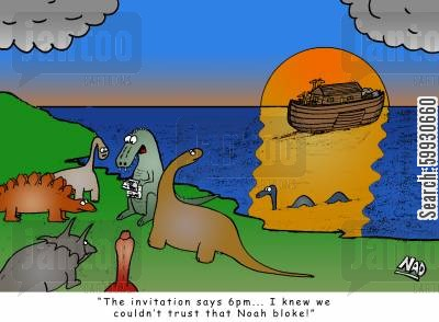 natural selection cartoon humor: 'The invitation says 6pm... I knew we couldn't trust that Noah bloke.'
