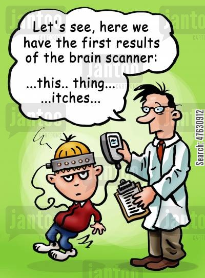 mri scan cartoon humor: 'Let's see, here we have the first results from of the brain scanner...'