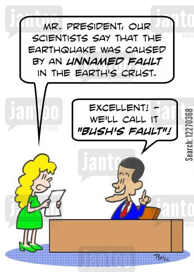 east coat earthquake cartoon humor: 'Mr. President, our scientist say that the earthquake was caused by an unnamed fault in the Earth's crust.'