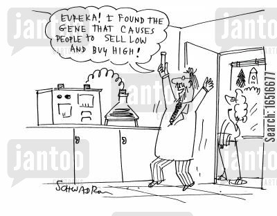 biology cartoon humor: 'Eureka! I found the gene that causes people to sell low and buy high!'
