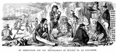 picnics cartoon humor: An association for the advancement of science on an excursion.