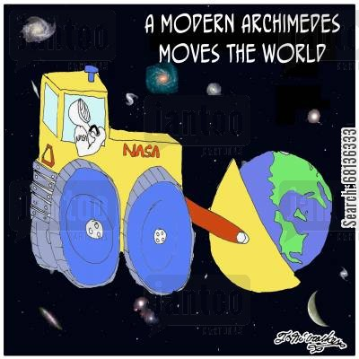 stargazing cartoon humor: A Modern Archimedes Moves the World.
