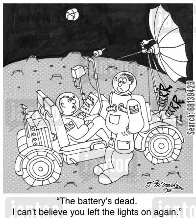 dead battery cartoon humor: 'The battery's dead. I can't believe you left the lights on again.'