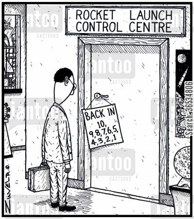 countdown cartoon humor: Rocket Launch Control Centre Back in 10,9,8,7,6,5,4,3,2,1