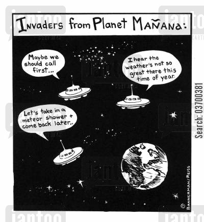 meteor shower cartoon humor: Invaders from Planet Manava.