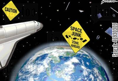 space shuttle cartoon humor: Space junk.