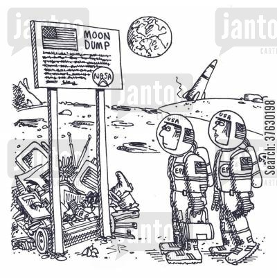 moon landing cartoon humor: Moon Dump,