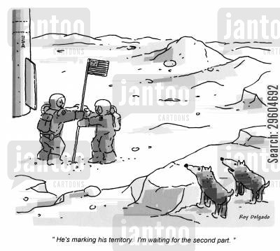 markings cartoon humor: 'He's marking his territory. I'm waiting for the second pary.'