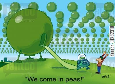 little green men cartoon humor: We come in peas!