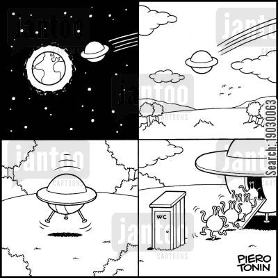 astronautics cartoon humor: Aliens visit the W.C.