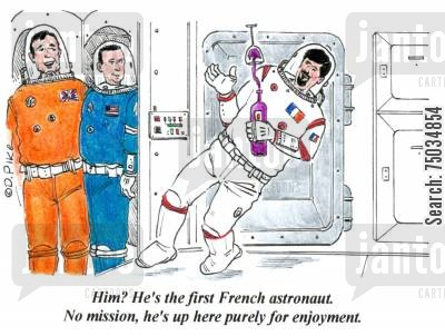 space station cartoon humor: 'Him? He's the first French astronaut. No mission, he's up here purely for enjoyment.'
