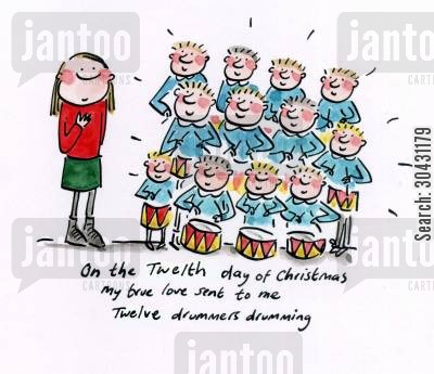 christmas song cartoon humor: On the twelth day of Christmas...