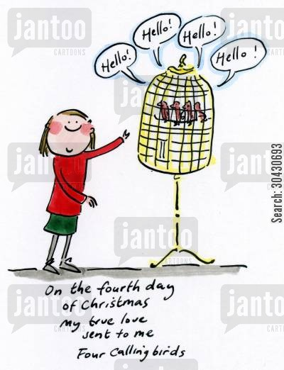 partridge in a pear tree cartoon humor: Fourth day of Christmas.