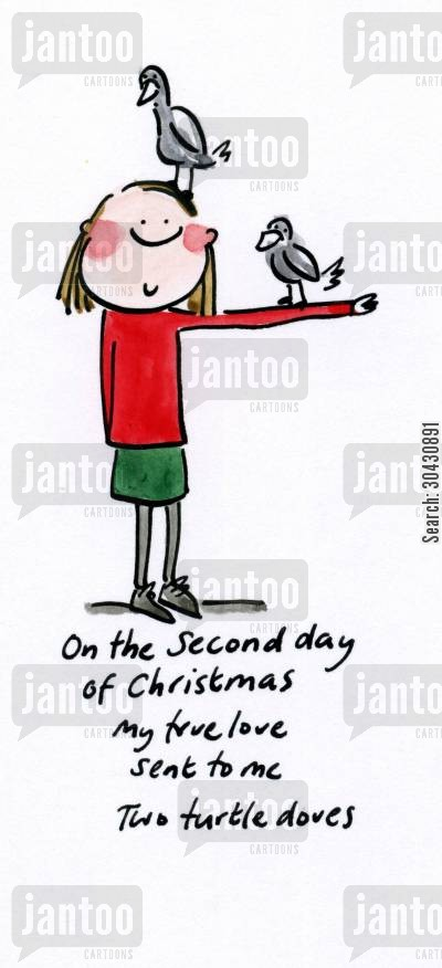 christmas song cartoon humor: On the second day of Christmas...