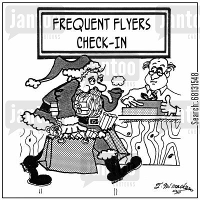 frequent flyers cartoon humor: Santa with shopping bags at the airport goes to the 'Frequent Flyers Check-In' desk.