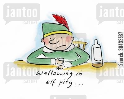 christmas blues cartoon humor: Wallowing in elf pity...