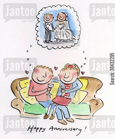 happily married cartoon humor: Happy Anniversary!