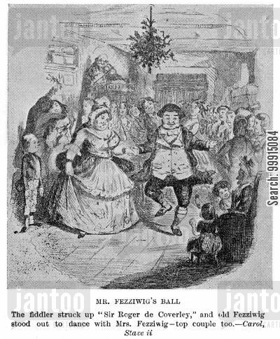 mistletoe cartoon humor: Mr. Fezziwig's ball