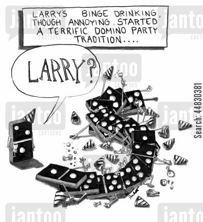 celebrate cartoon humor: Larry's binge drinking, though annoying, started a terrific domino party tradition....