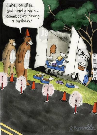 party hats cartoon humor: 'Cakes, candles and party hats...somebody's having a birthday!'