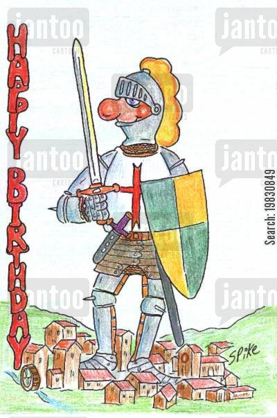 happy birthdays cartoon humor: A Knight out on the town.