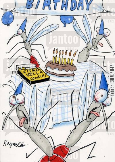citronella candle cartoon humor: Mosquito birthday party.