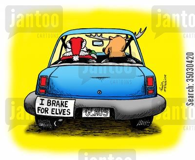 sticker cartoon humor: I brake for elves.