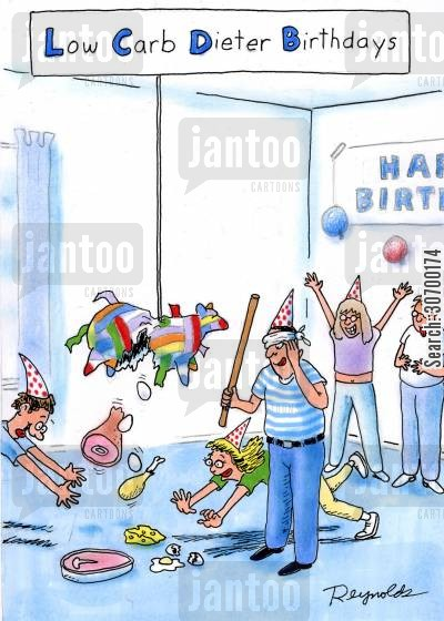 dives cartoon humor: Low Carb Dieter Birthdays - diving for meat from the pinata.