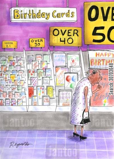 old ladies cartoon humor: Birthday Cards.