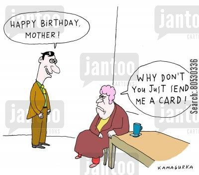 greetings card cartoon humor: 'Why don't you just send me a card!'