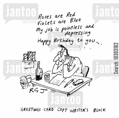 roses are red cartoon humor: Greetings cards copy writer's block.