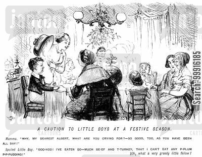 glutton cartoon humor: Little boy crying because has is too full for plum pudding