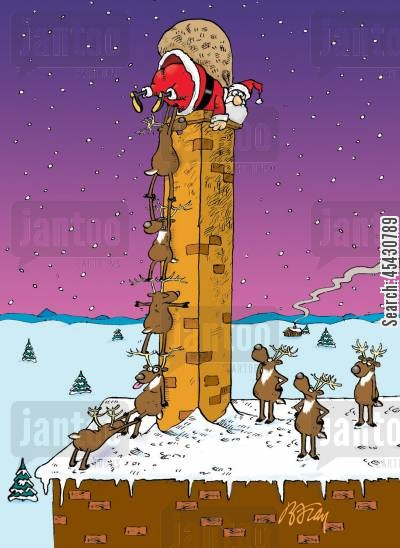 christmas myth cartoon humor: Santa being hoisted up a tall chimney by his reindeer.