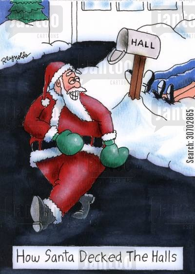 deck the halls cartoon humor: How Santa Decked the Halls.