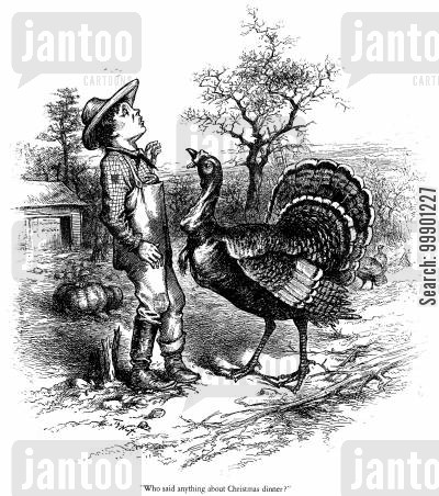 farms cartoon humor: Turkey wary of Christmas