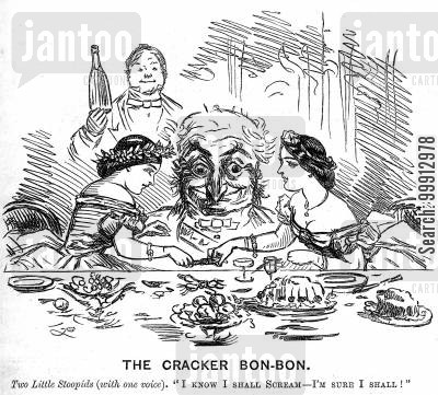 christmas time cartoon humor: Sisters fighting over a cracker