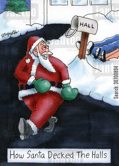 deck cartoon humor: How Santa Decked The Halls.