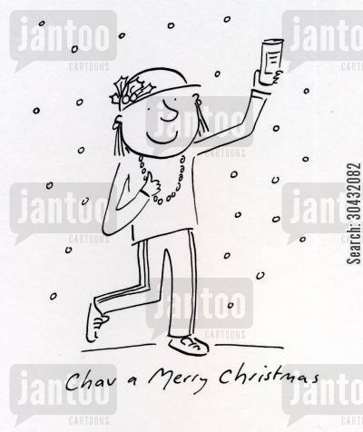 scallie cartoon humor: Chav a Merry Christmas
